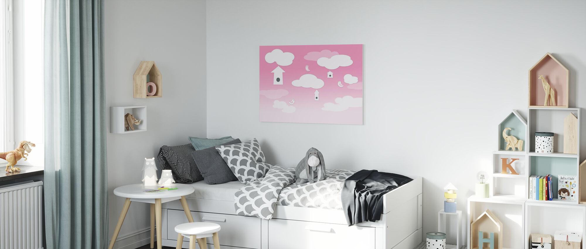 Oiseaux haut - Rose - Impression sur toile - Chambre des enfants