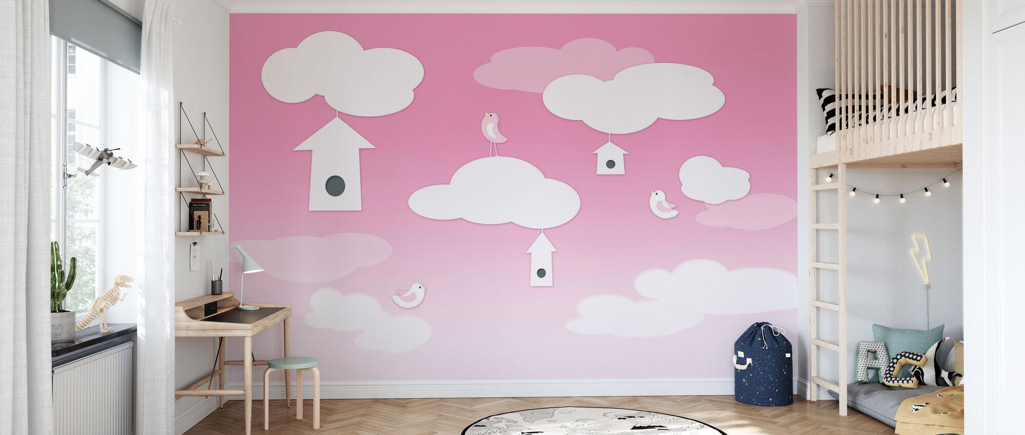 Vogels hoog - Roze - Behang - Kinderkamer