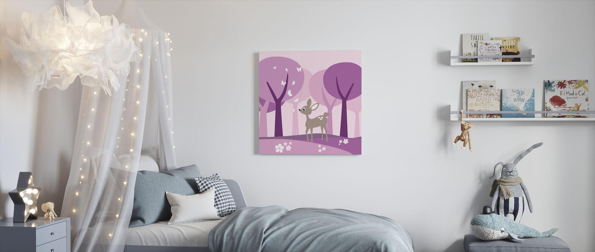 Deer in Purple Woods - Canvas print - Kids Room