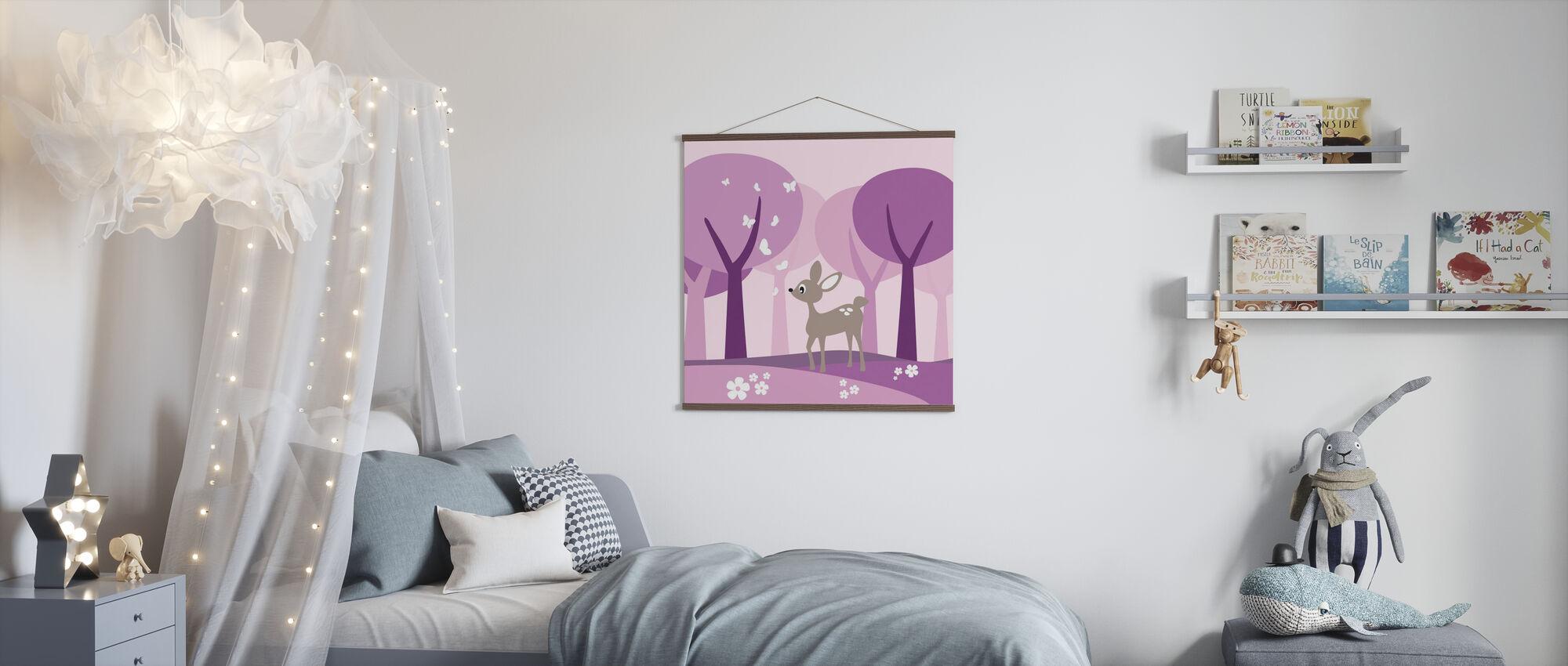 Hirsch in lila Hölzern - Poster - Kinderzimmer