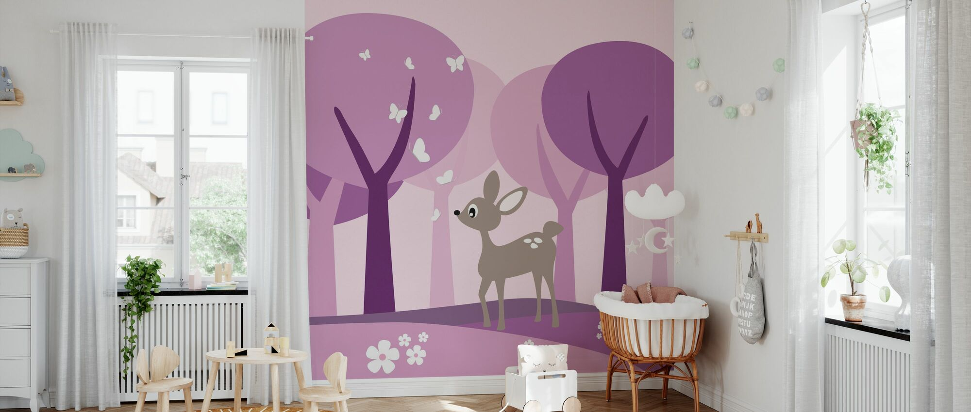 Deer in Purple Woods - Wallpaper - Nursery