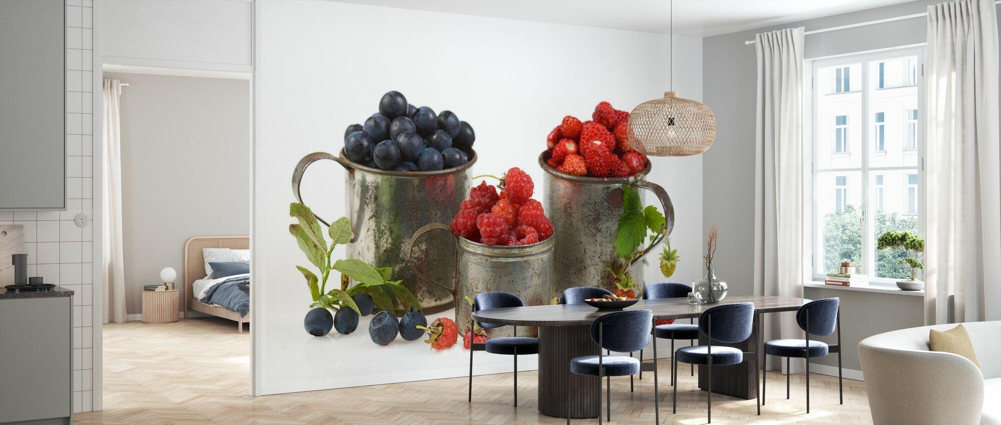 Blaubeeren Rasbeeren und Erdbeeren - Tapete - Küchen