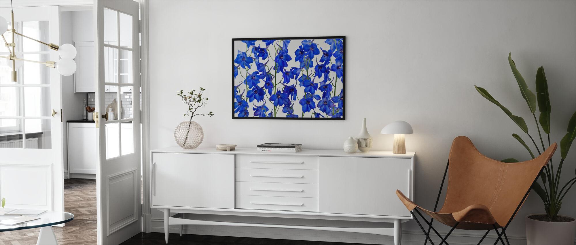 Blå Blommor - Inramad tavla - Vardagsrum