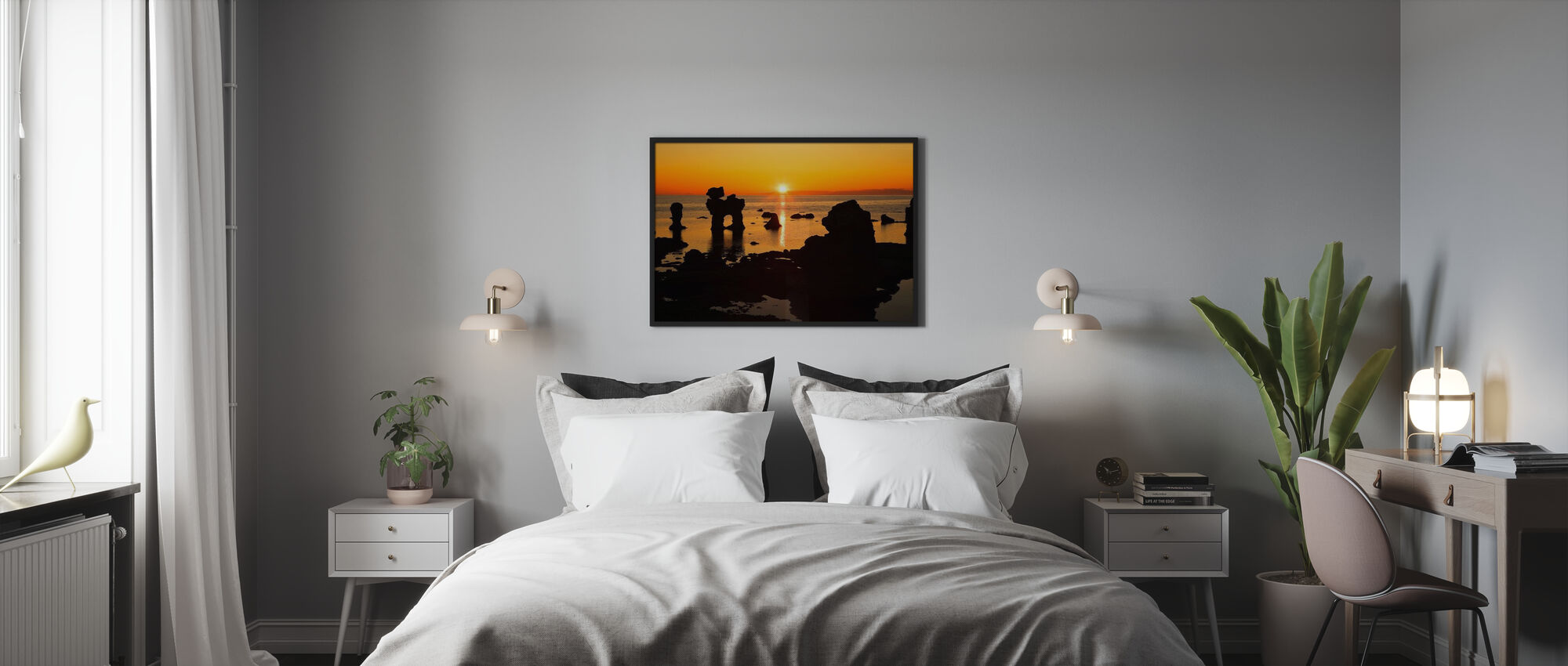 Sunset over Rocky Outcrops at Sea - Framed print - Bedroom