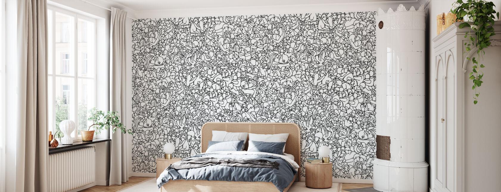 Kissing Pattern - Black - Wallpaper - Bedroom