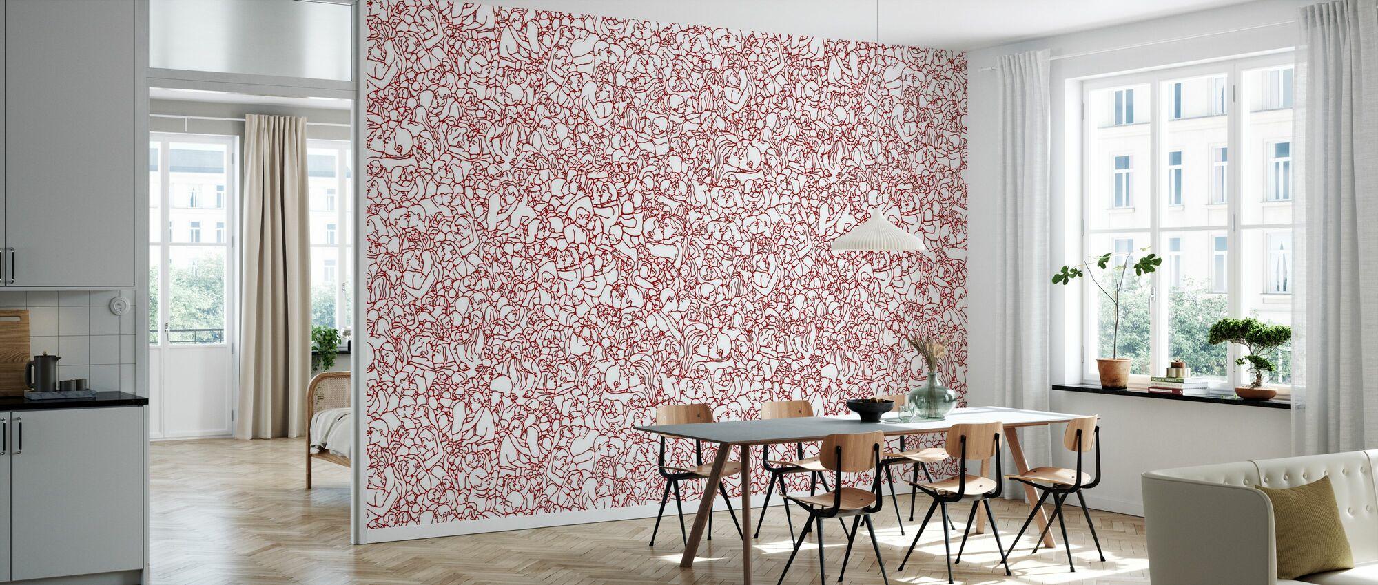 Kissing Pattern - Red - Wallpaper - Kitchen