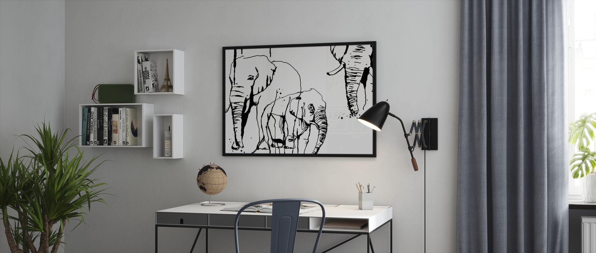 Olifant - Ingelijste print - Kantoor