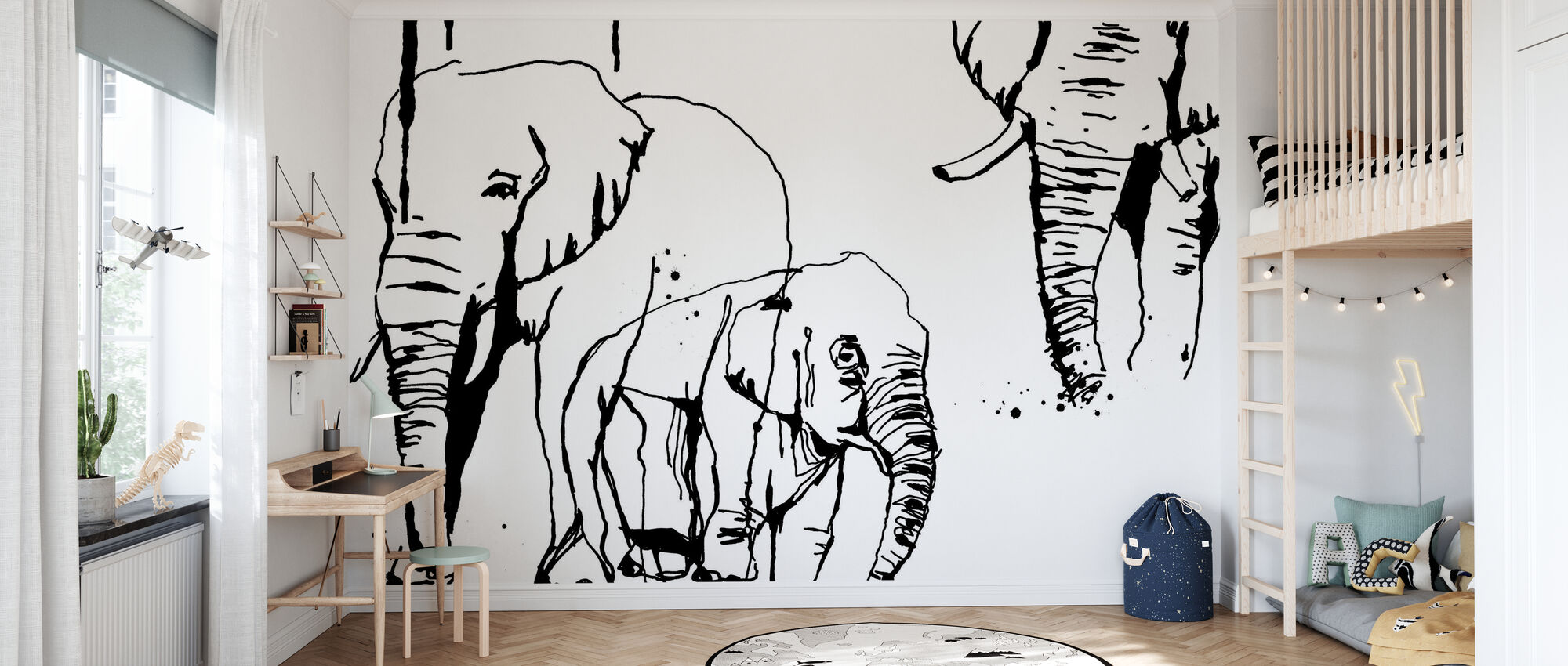 Olifant - Behang - Kinderkamer