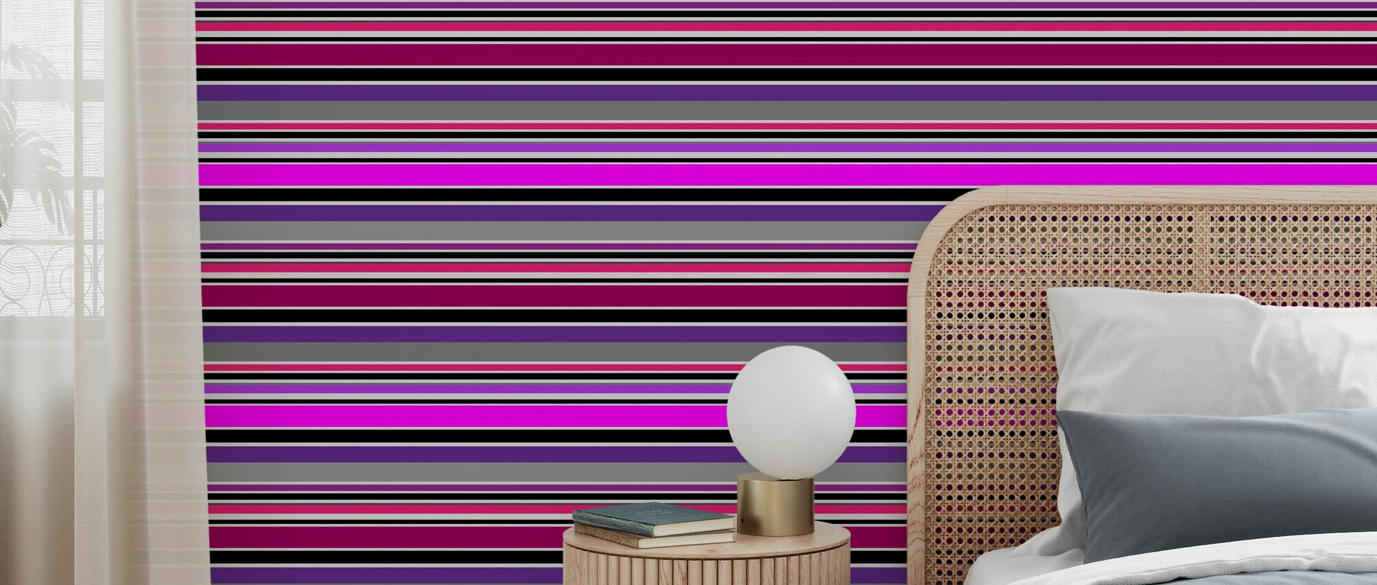 Stripe Purple - Wallpaper - Bedroom