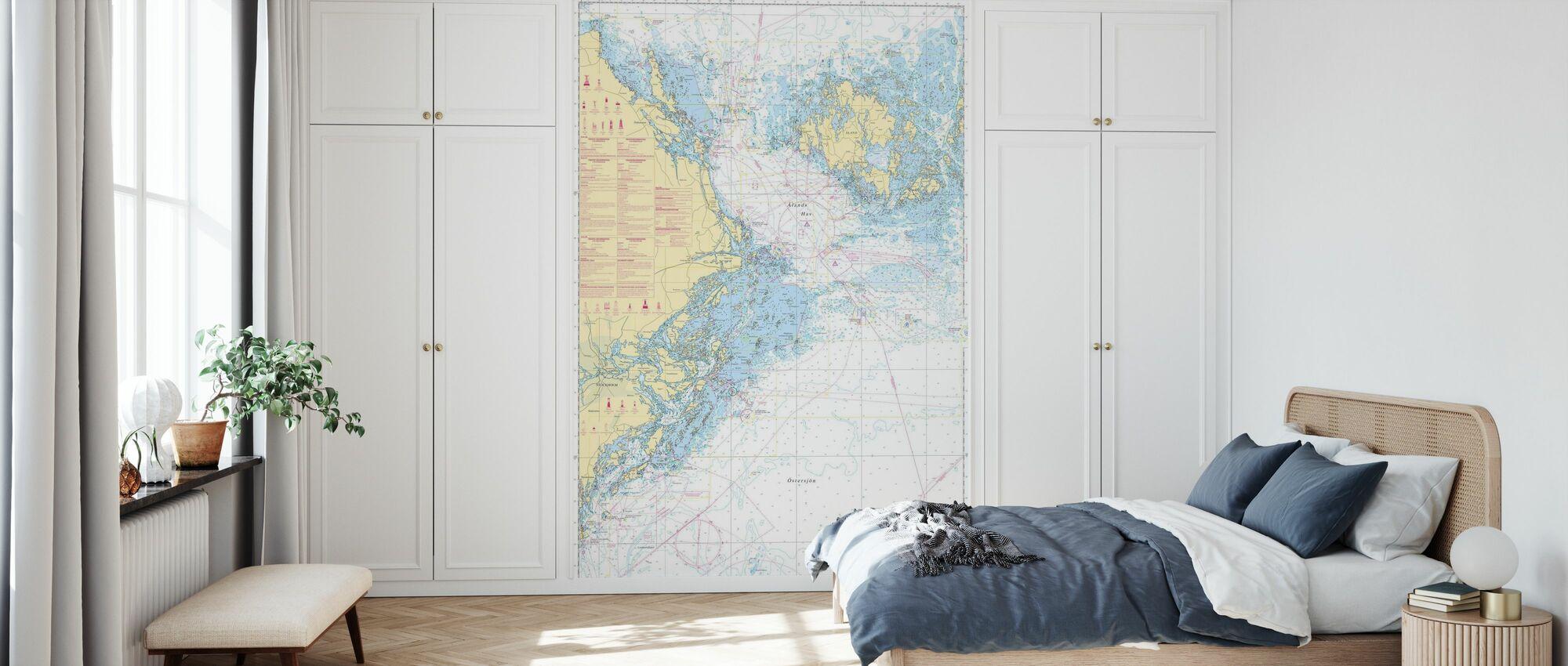 Zeekaart 61 - Landsort - Alands Hav - Behang - Slaapkamer