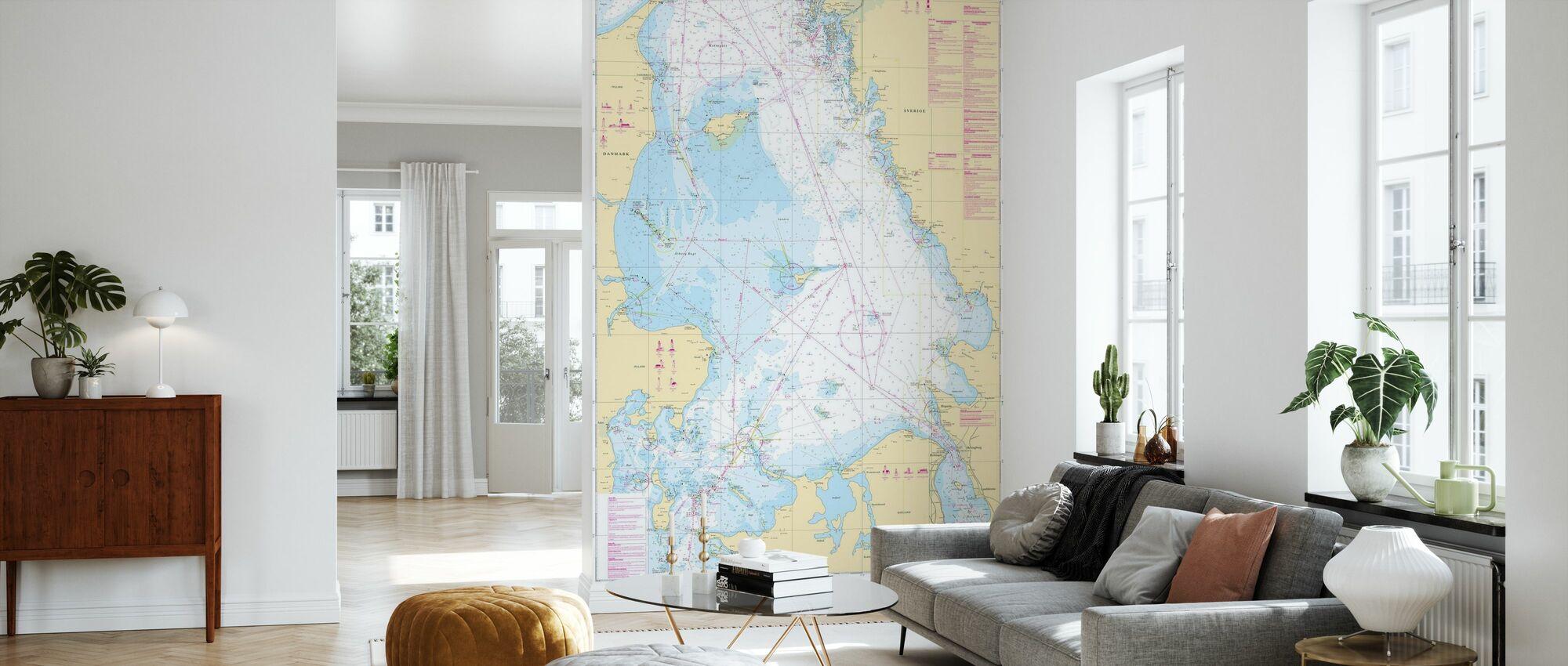 Seekarte 92 - Kattegatt - Tapete - Wohnzimmer