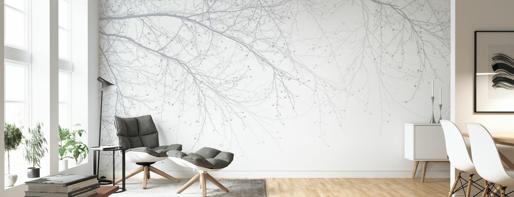 Schwarz Buche - Grau - Tapete - Wohnzimmer