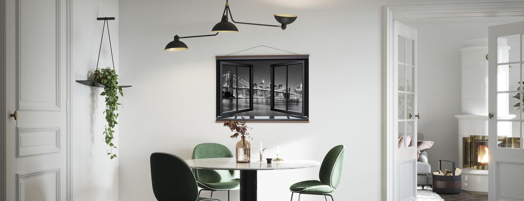 Bright Brooklyn Bridge Through Window - Poster - Kitchen