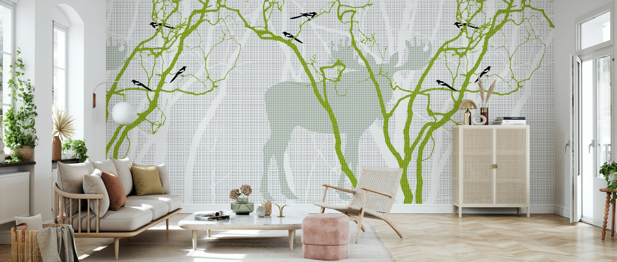 Rhubarb - Spring Green - Wallpaper - Living Room
