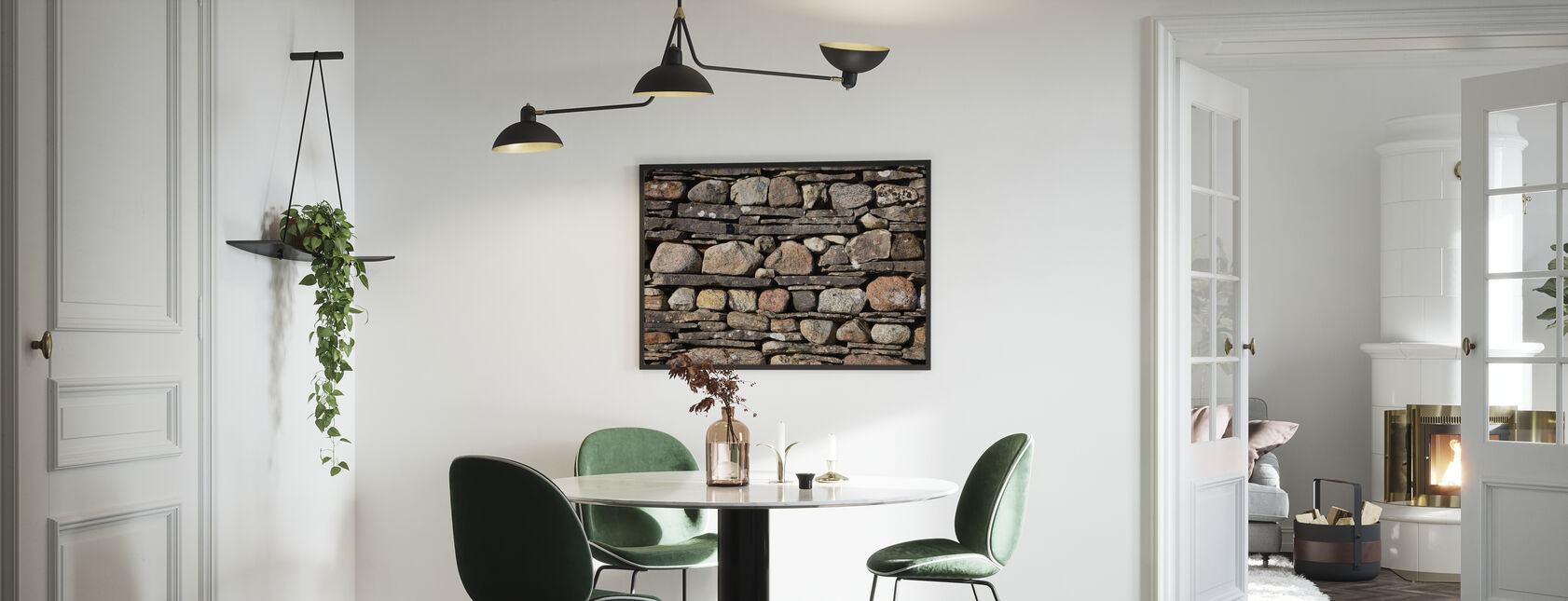 Stonewall with Slate - Framed print - Kitchen