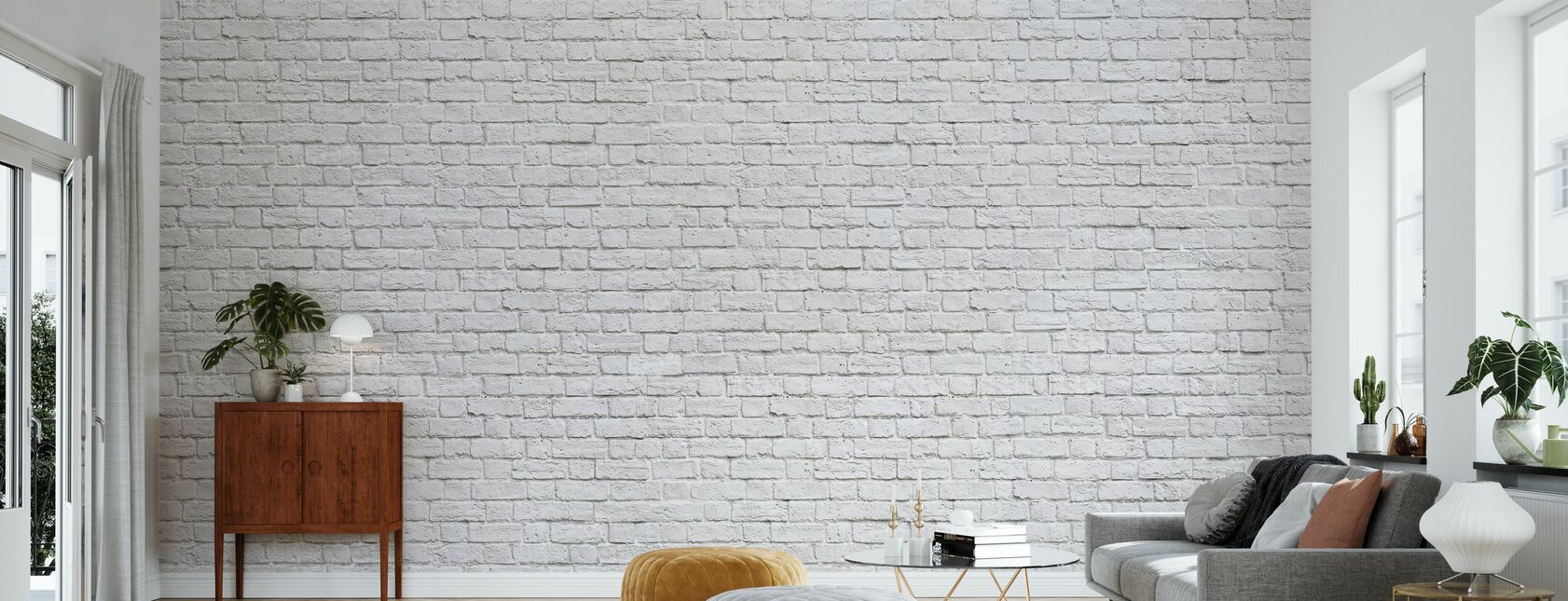Brick Wall - White - Wallpaper - Living Room