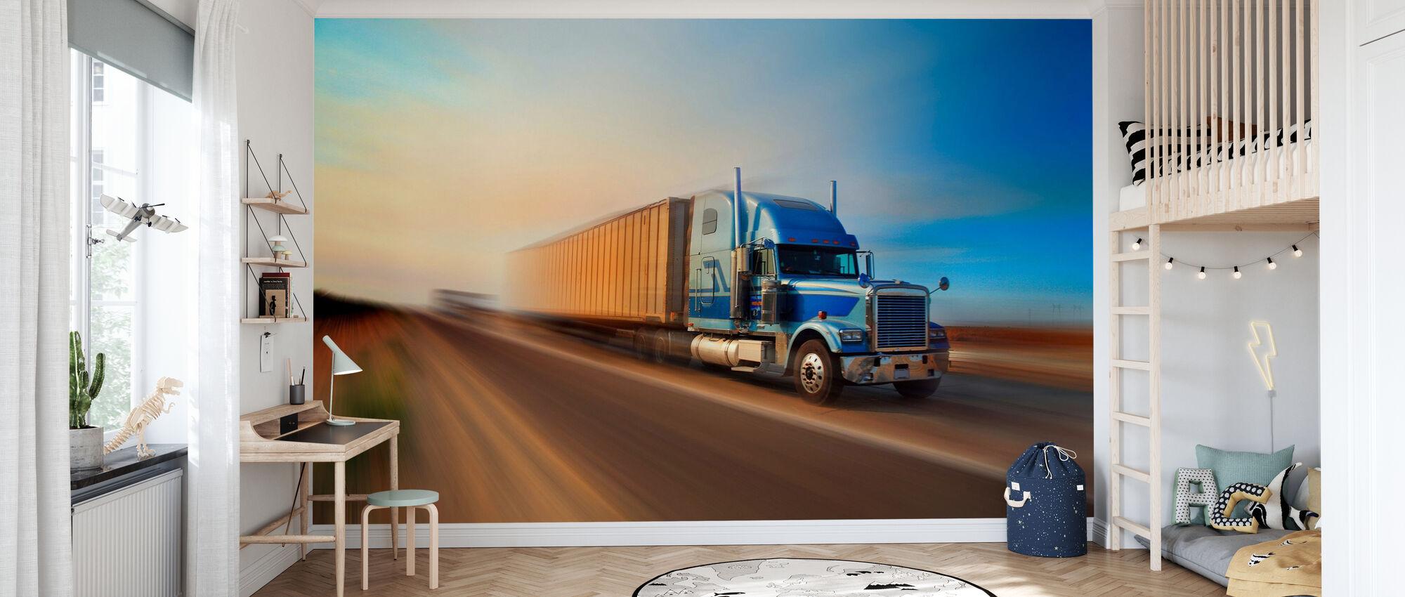 Speeding Truck - Wallpaper - Kids Room