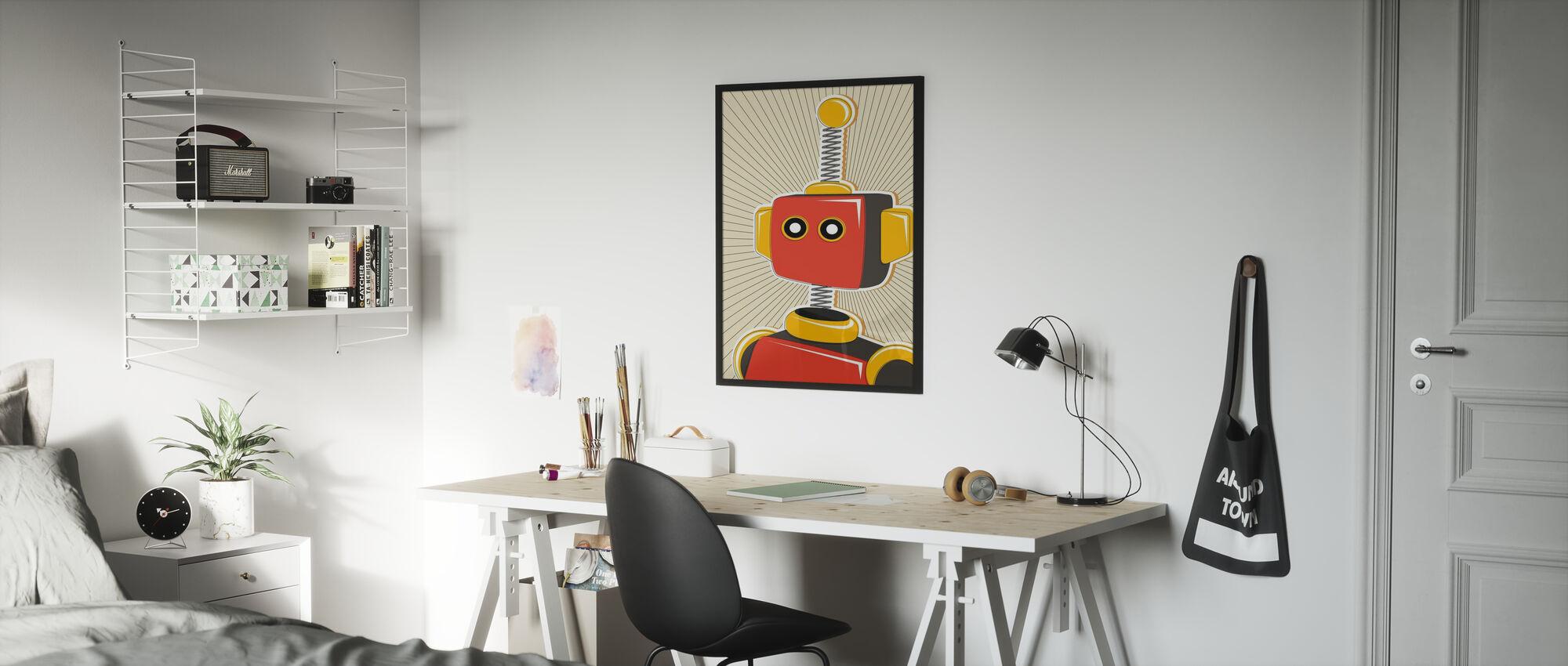 Retro Robot - Ingelijste print - Kinderkamer