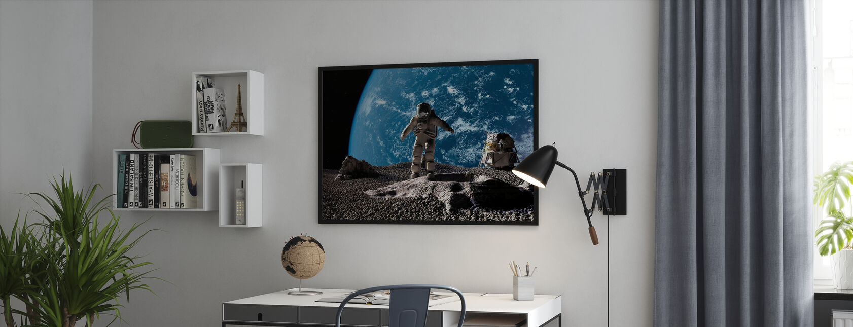 Astronaut with Earth in Background - Poster - Office