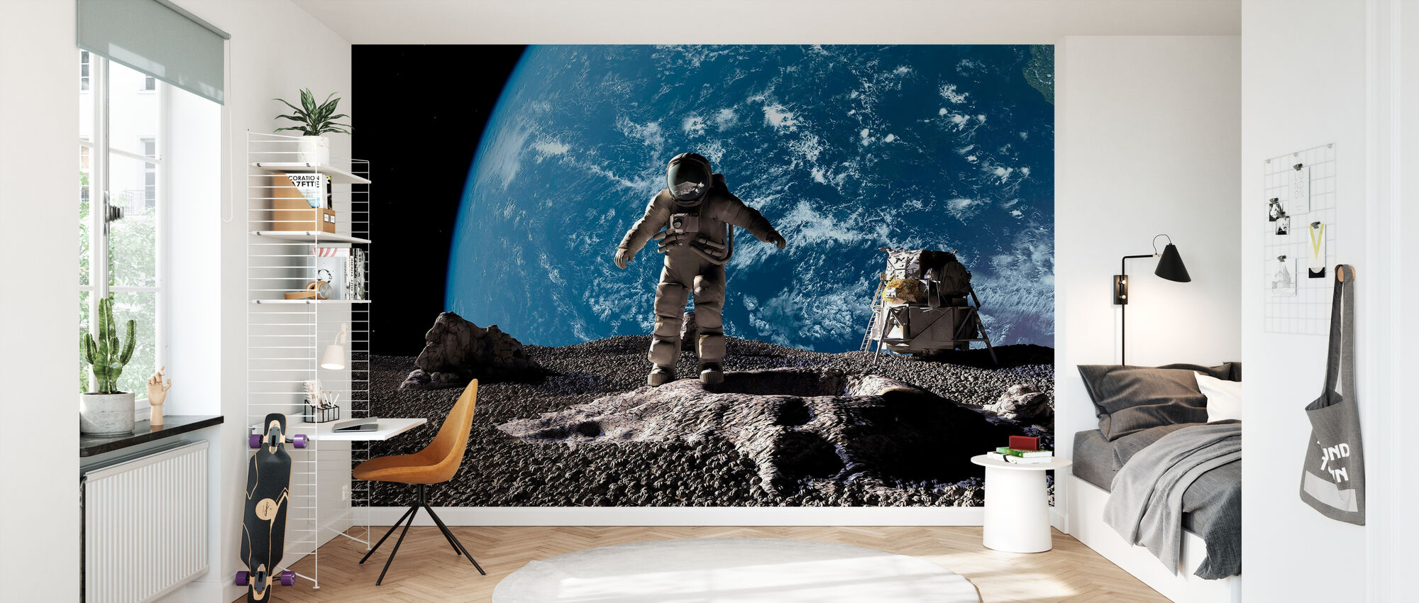 Astronaut with Earth in Background - Wallpaper - Kids Room