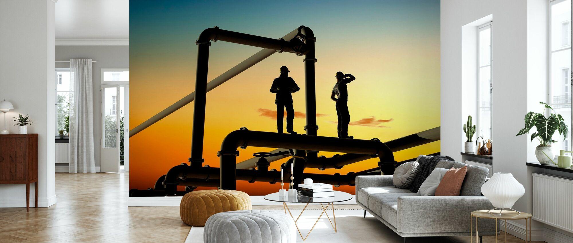 Oliewerkers en leidingen in zonsondergang - Behang - Woonkamer
