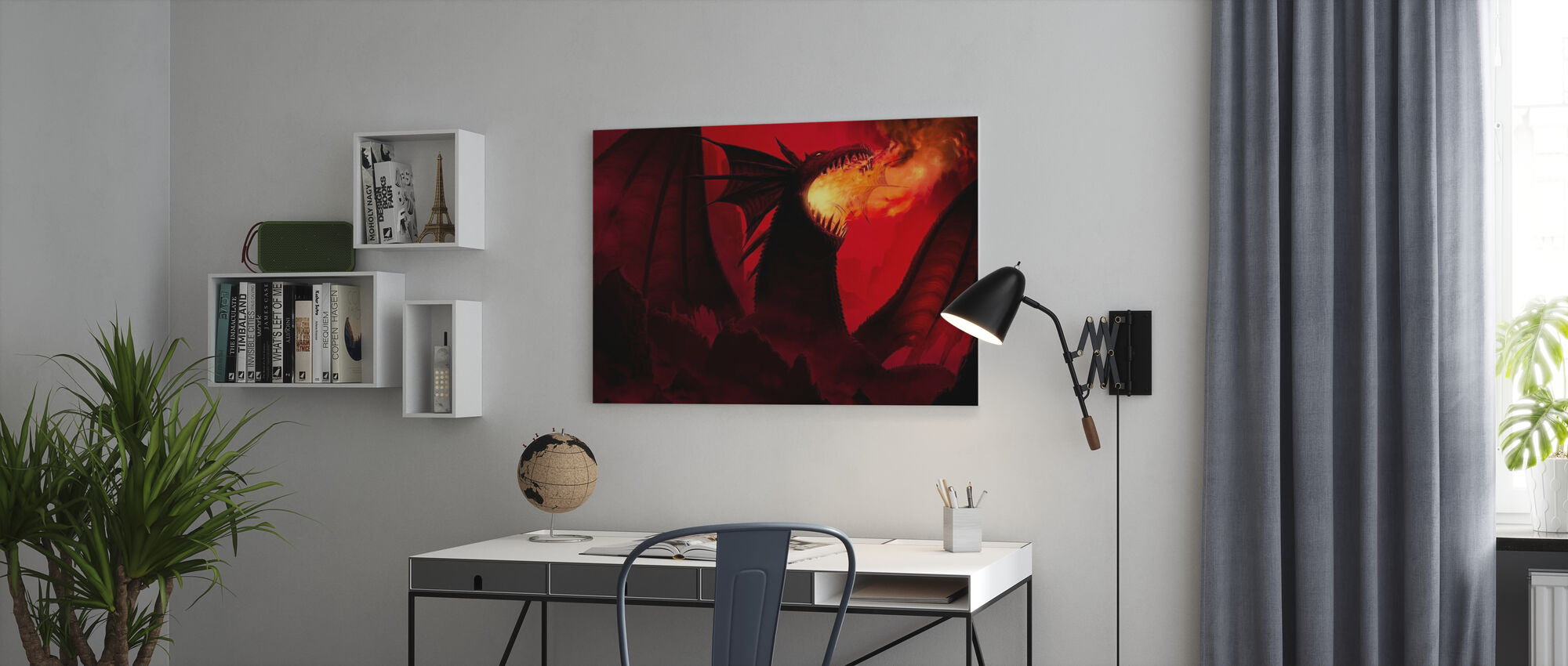 Dragon in Red - Canvas print - Office