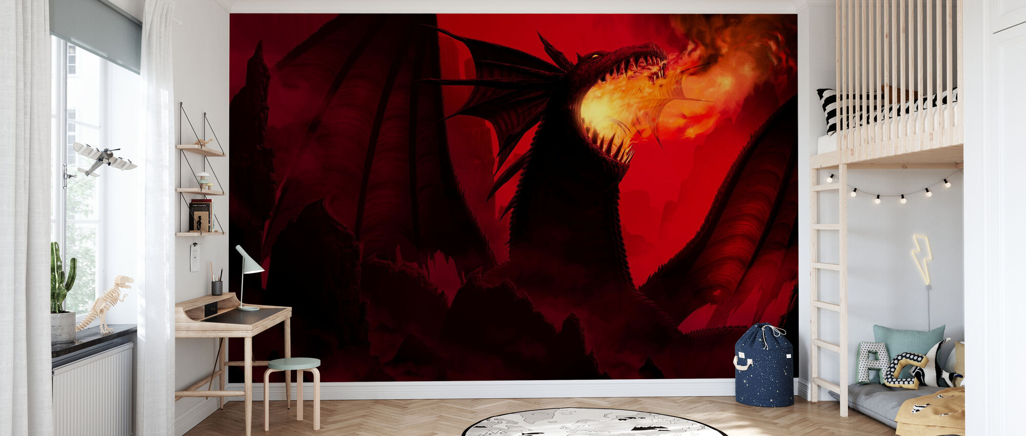 Dragon in Red - Wallpaper - Kids Room
