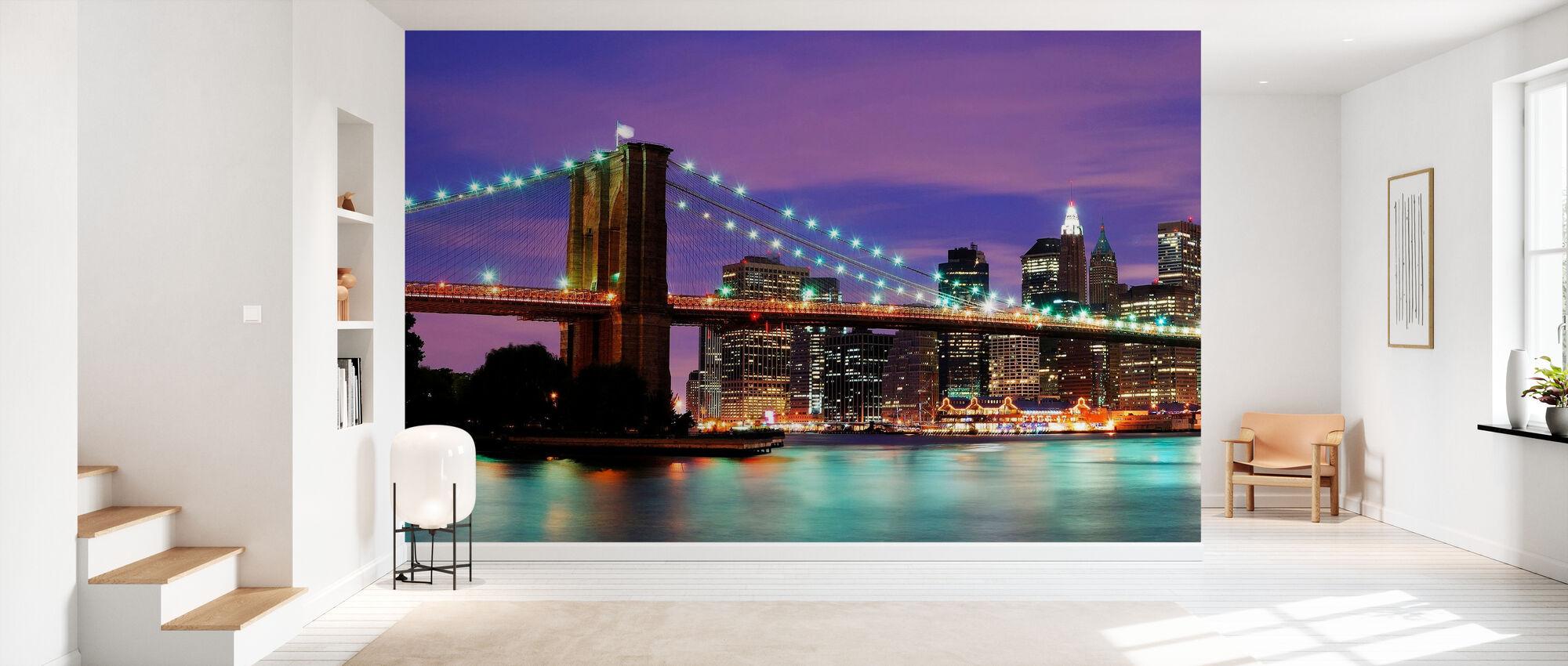 Brooklyn Bridge om natten - Tapet - Gang
