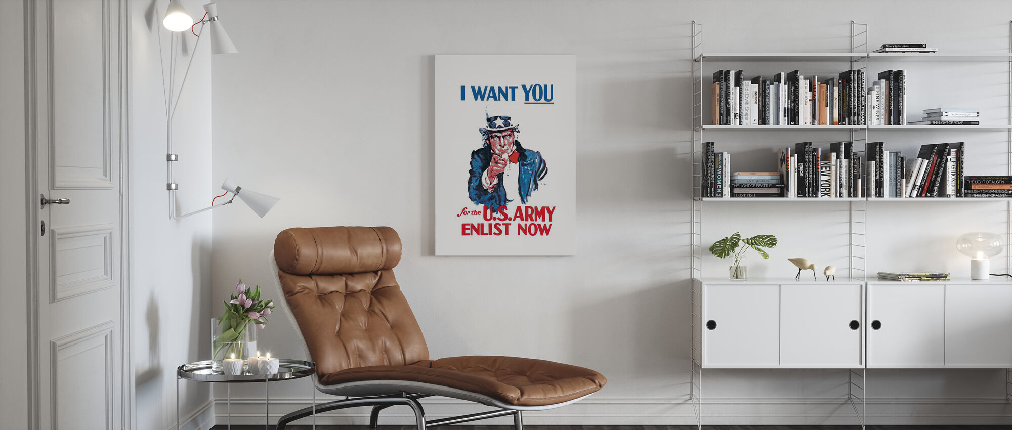 Uncle Sam Enlist Now - Canvas print - Living Room