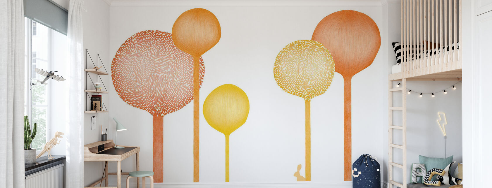 Studio Rita | Elin Öhrling - Skogskape - Orange - Tapet - Barnerom