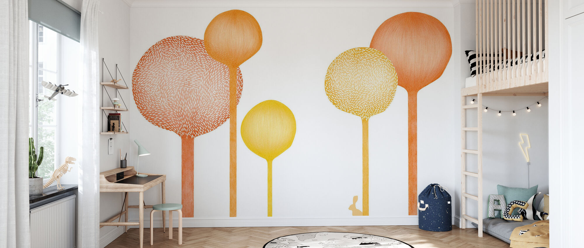 Studio Rita | Elin Öhrling - Forestscape - Orange - Wallpaper - Kids Room