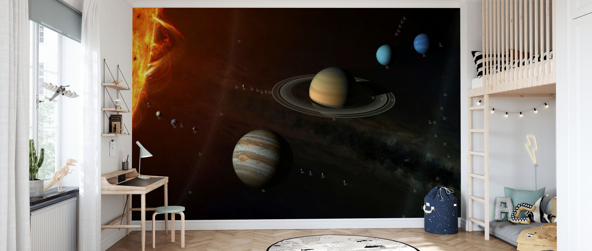 Solar System - With info labels - Wallpaper - Kids Room