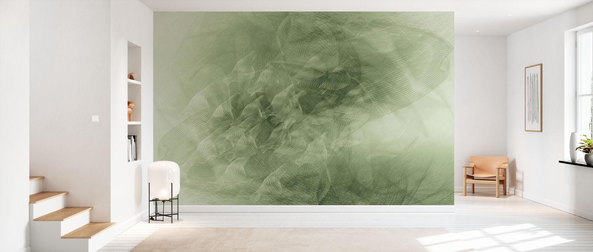 Flowing Lines - Green - Wallpaper - Hallway