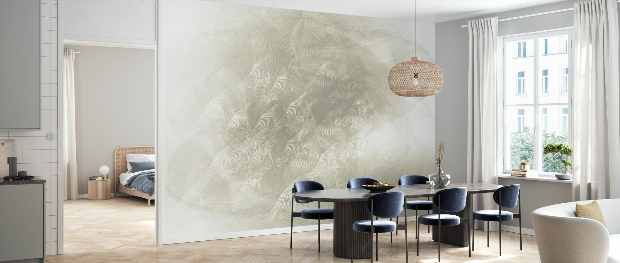 Flowing Lines - Grey - Wallpaper - Kitchen