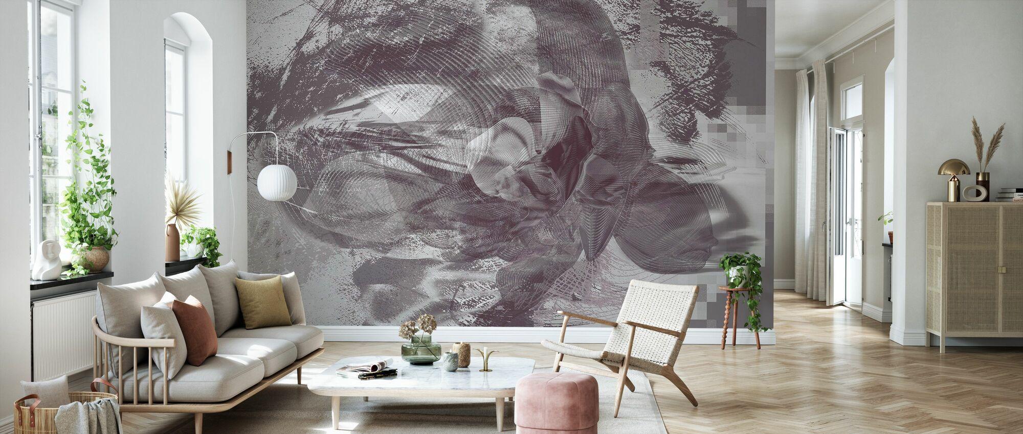 Orkidea Kaaos - Grafiitti - Tapetti - Olohuone