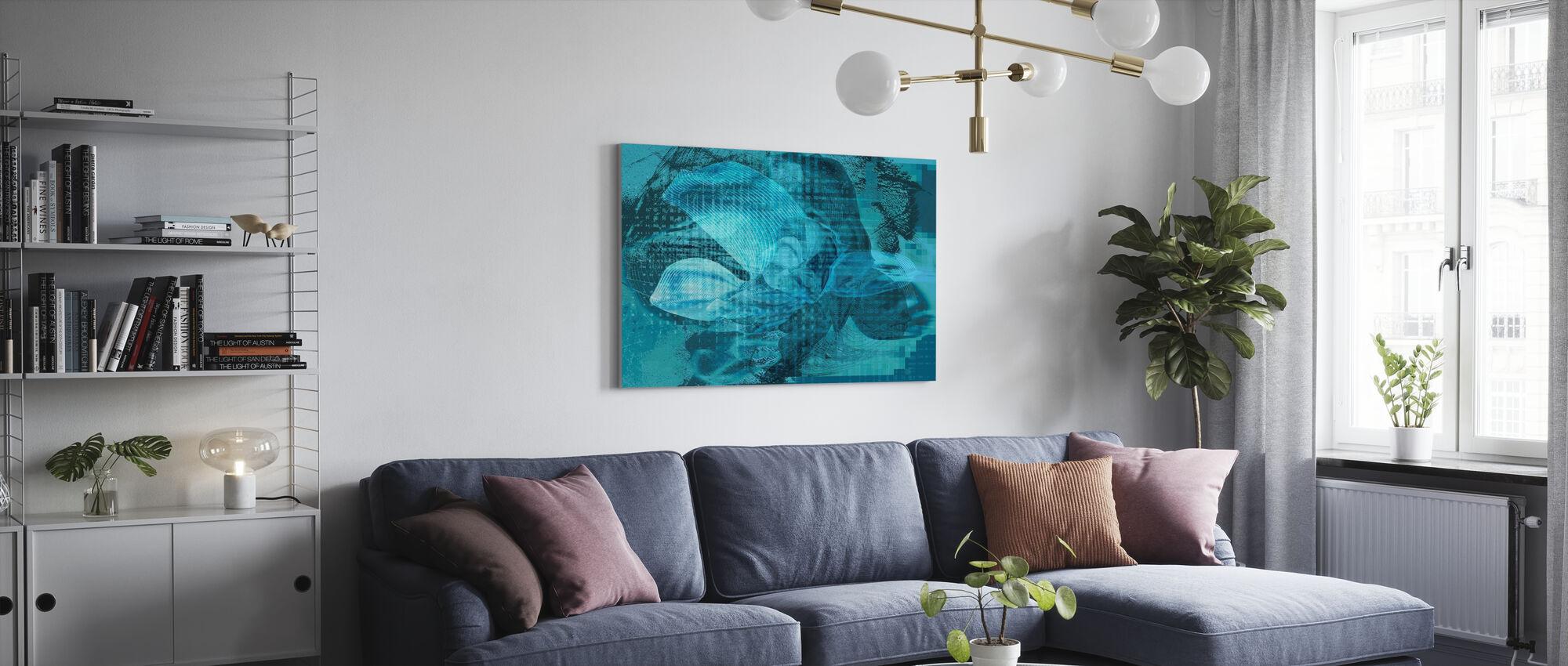 Orkide kaos - blå grønn - Lerretsbilde - Stue