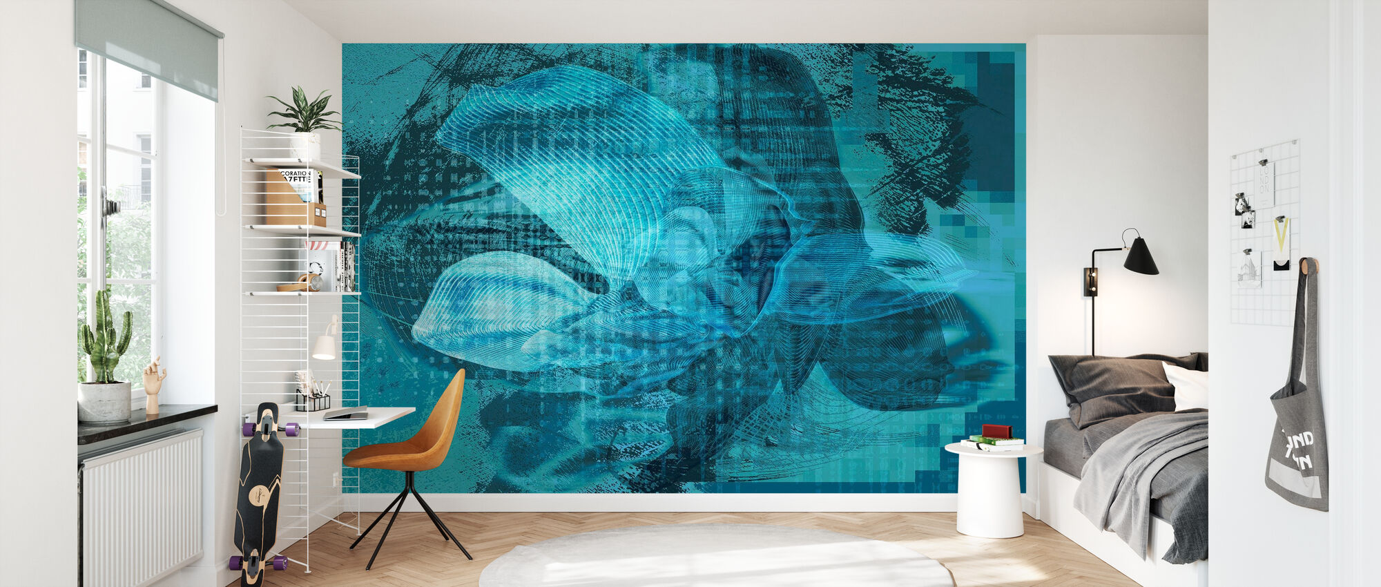 Orchid Chaos - Blue Green - Wallpaper - Kids Room