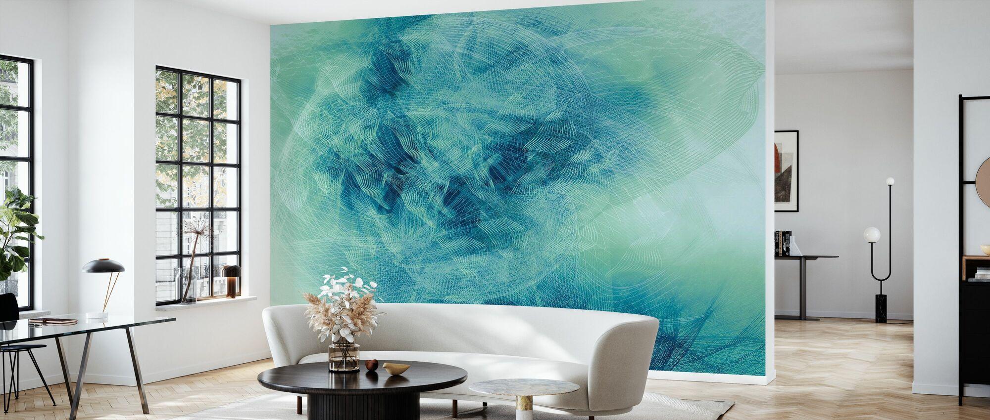 Liquid Lines - Green Blue - Wallpaper - Living Room
