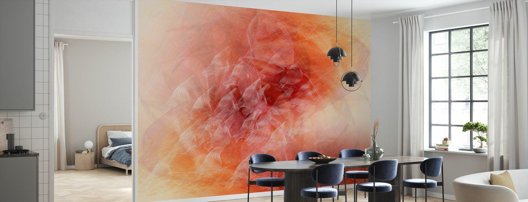 Abstract Flowing Lines - Orange - Wallpaper - Kitchen