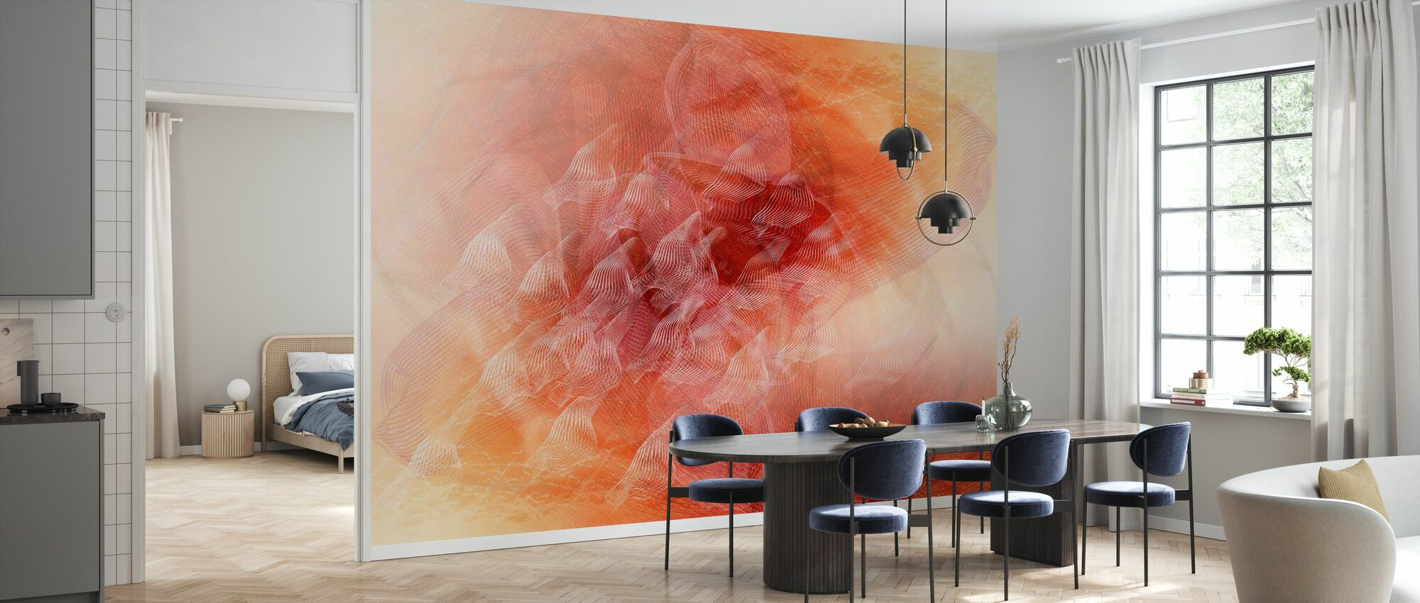 Abstract Flowing Lines - Orange - Wallpaper - Kitchen