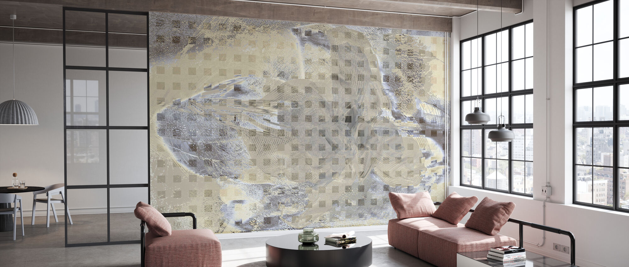 Orchid Chaos - Beige Grey - Wallpaper - Office