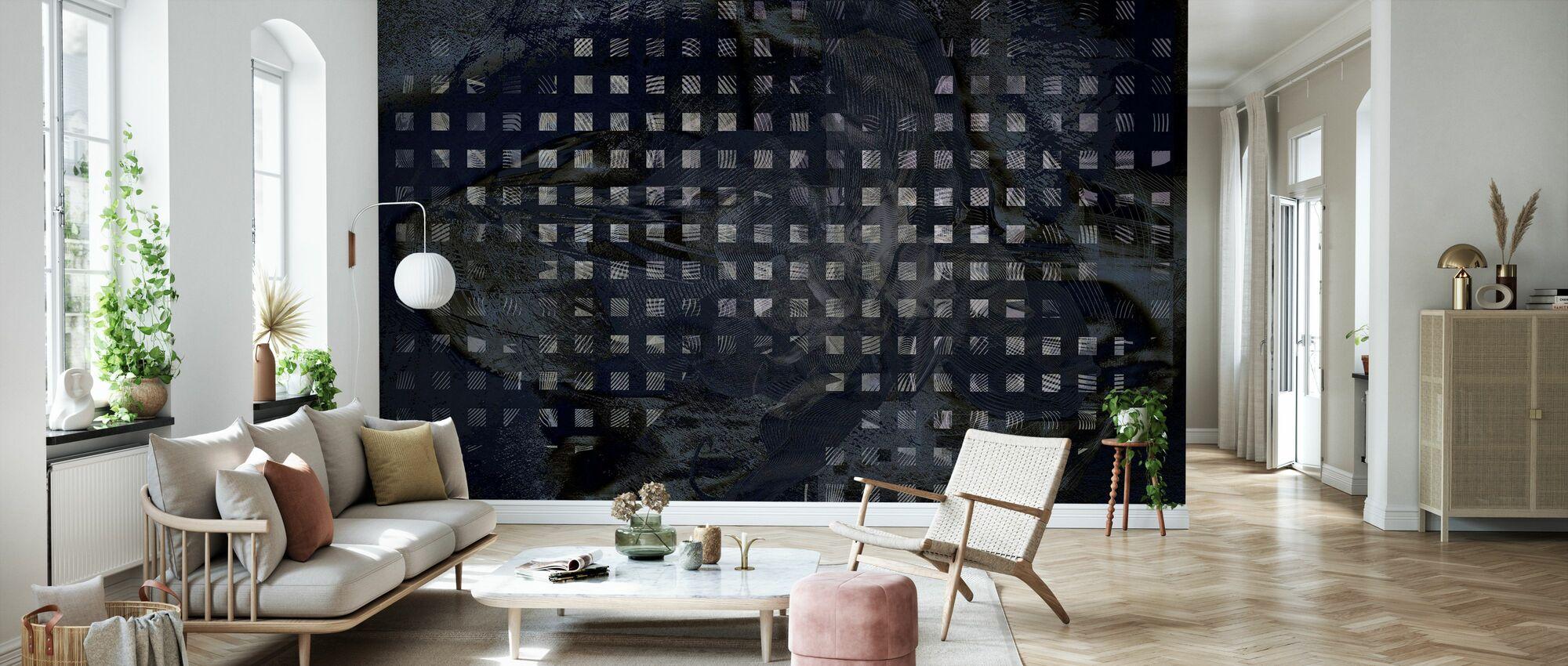 Orchid Chaos - Black - Wallpaper - Living Room