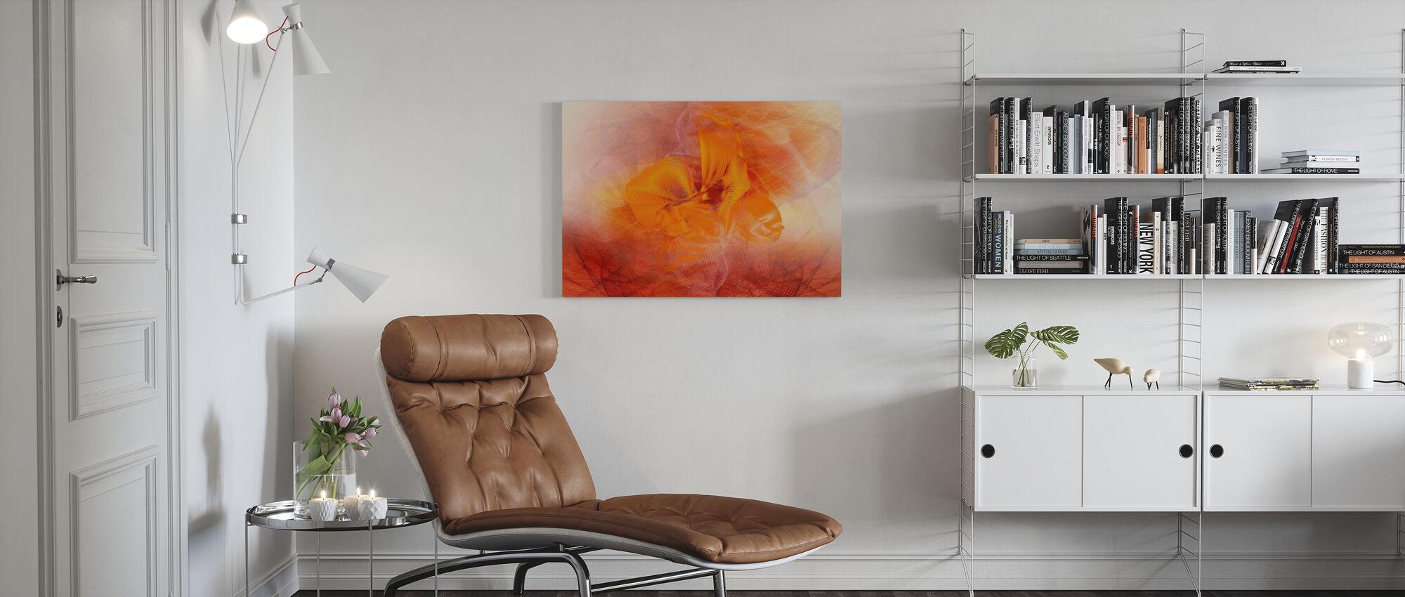 Orkidea Kaaos - Oranssi - Canvastaulu - Olohuone