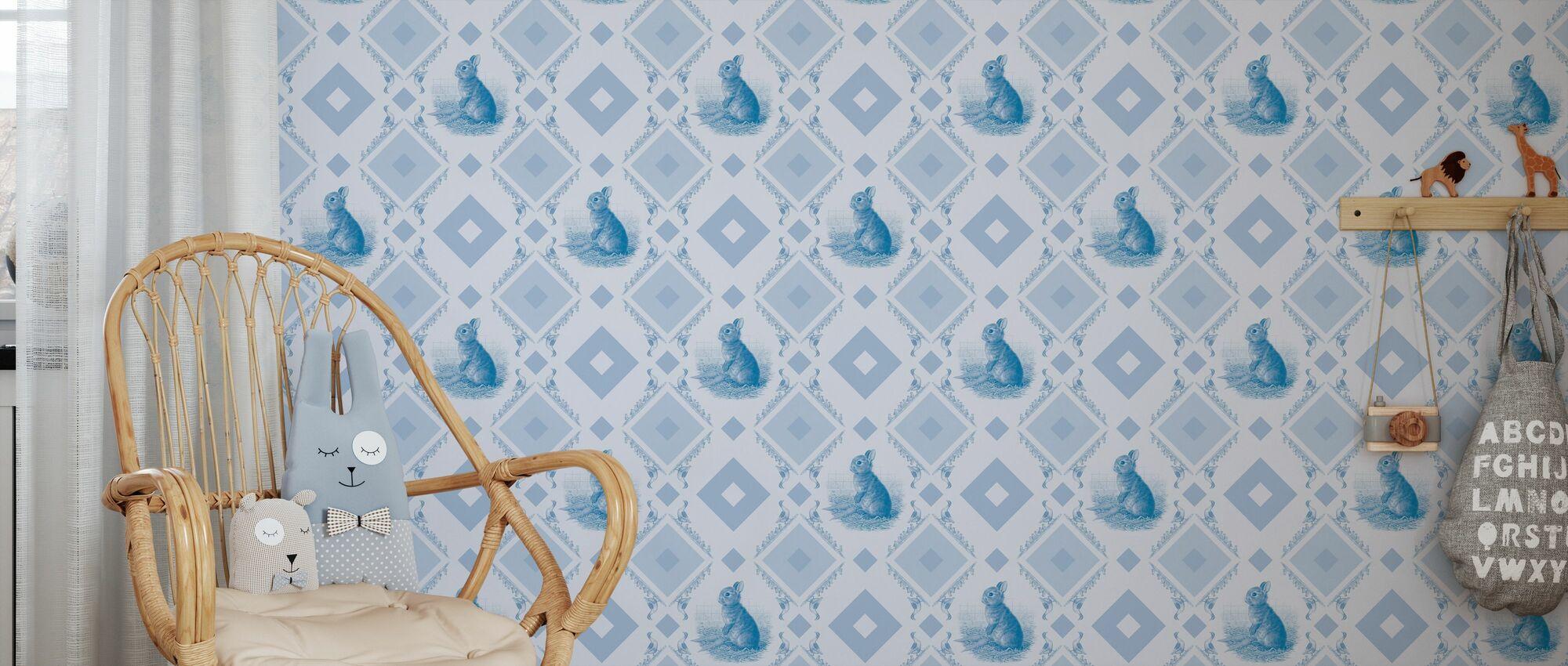 Jonge Konijn - Gooseframe Lichtblauw - Behang - Kinderkamer