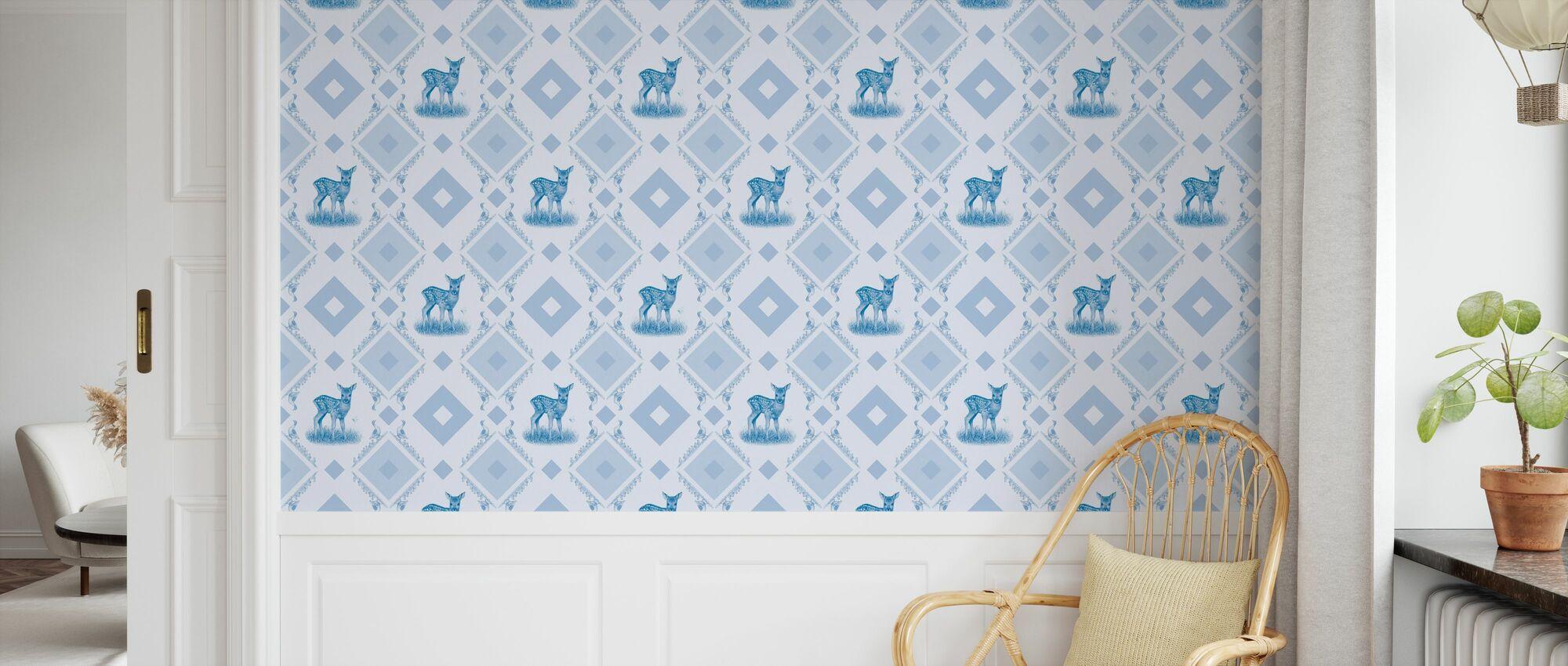 Young Deer - Gooseframe Lightblue - Wallpaper - Kids Room