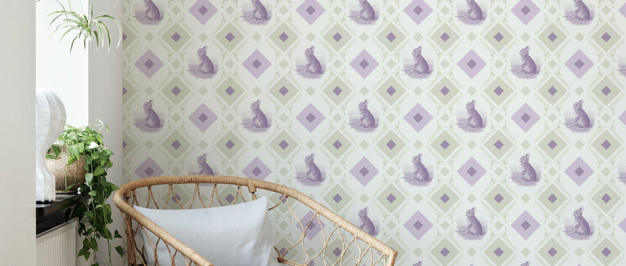 Lapin - Cadre d'oie - Vert Violet - Papier peint - Salle à manger