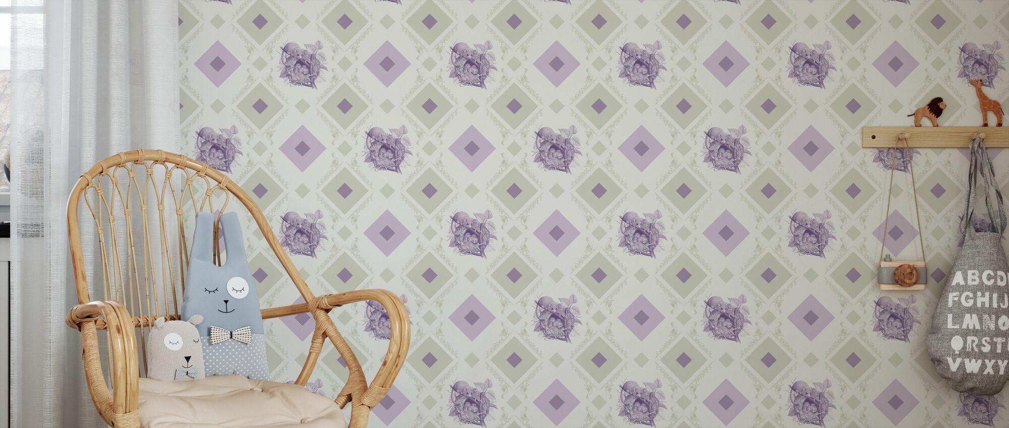 Slaapmuis - Gooseframe - Groen Paarse - Behang - Kinderkamer