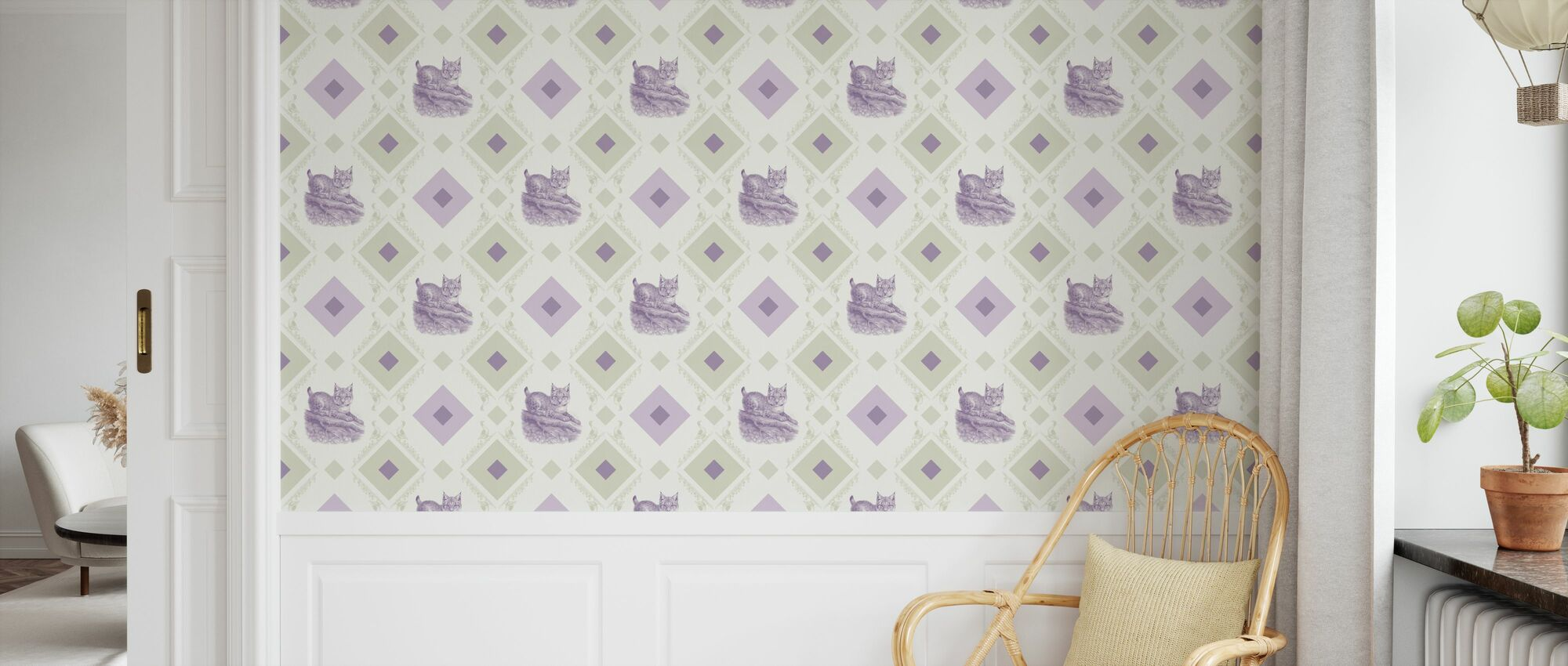 Young Lynx - Gooseframe - Green Purple - Wallpaper - Kids Room