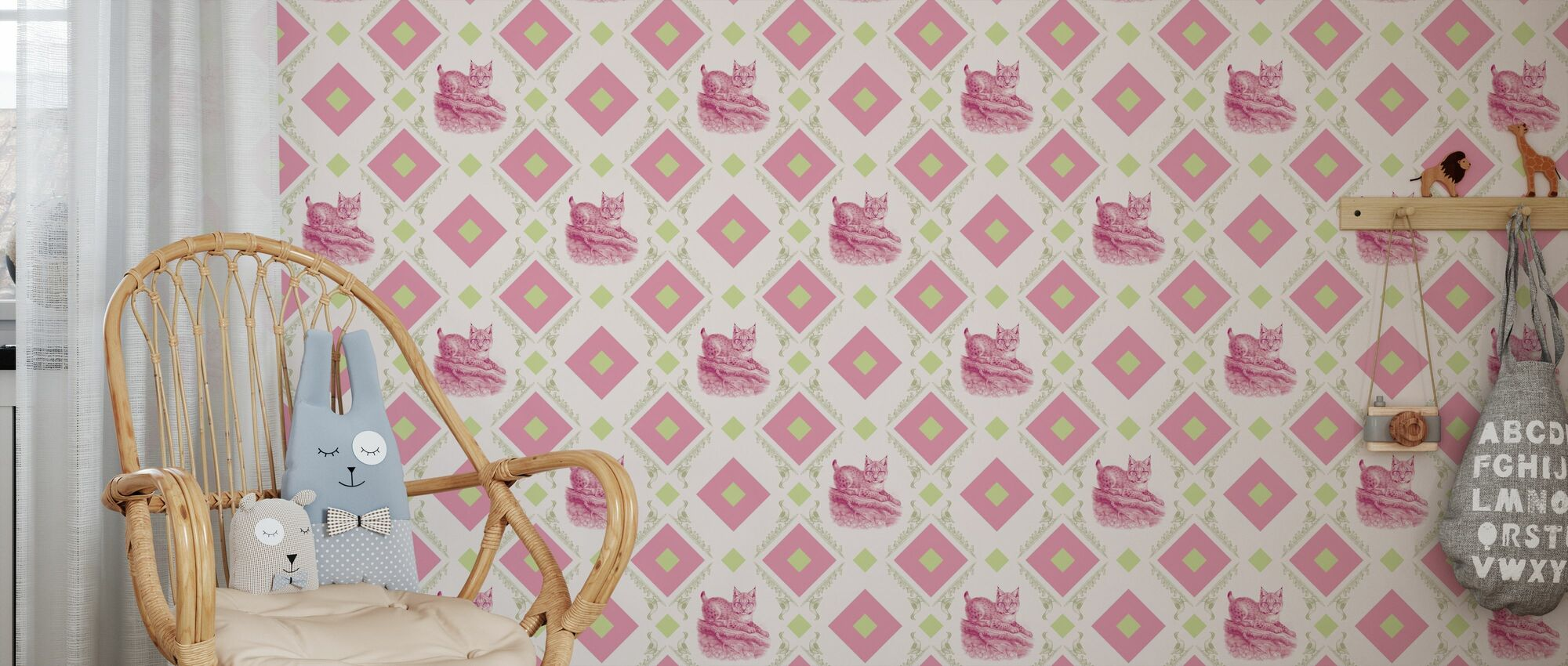 Young Lynx - Gooseframe - Pink Green - Wallpaper - Kids Room