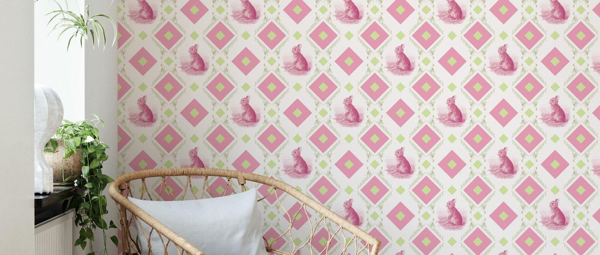 Young Rabbit - Gooseframe - Pink Green - Wallpaper - Living Room